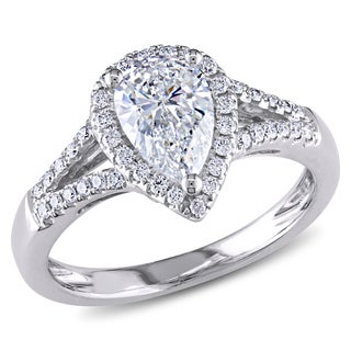 Miadora 14k White Gold 1 1/6ct TDW Certified Diamond Ring (G-H, SI1-SI2) (GIA)