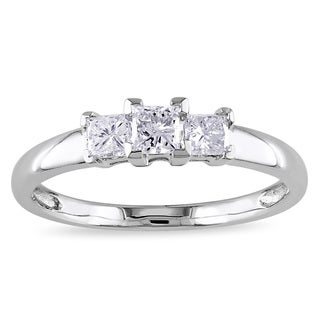 Miadora 10k White Gold 1/2ct TDW Diamond 3-stone Engagement Ring (H-I, I2-I3)
