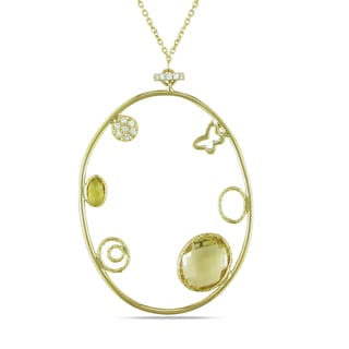 Miadora 14k Yellow Gold Citrine and Created White Sapphire Circle Necklace