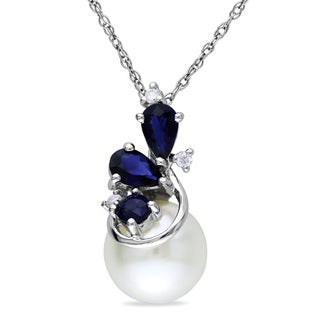 Miadora 10k White Gold Pearl, Sapphire and Diamond Necklace (H-I, I2-I3) (8.5-9 mm)