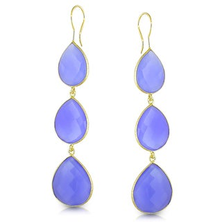 Miadora 22k Yellow Goldplated Silver Blue Onyx Drop Earrings