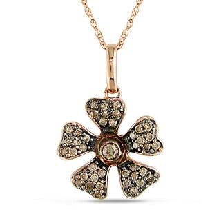 Miadora 10k Rose Gold 1/4ct TDW Brown Diamond Flower Necklace (I2-I3)