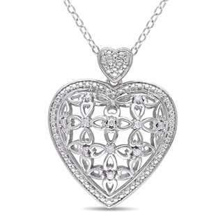 Miadora Sterling Silver 1/10ct TDW Diamond Heart Necklace (G-H, I1-I2)