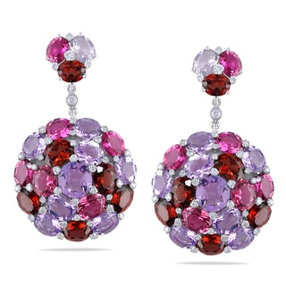 Miadora Signature Collection 14k White Gold Multi-gemstone and 2/5ct TDW Diamond Earrings (G-H, I1-I2)