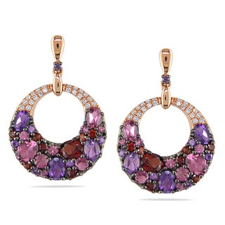 Miadora 14k Rose Gold Amethyst, Garnet, Tourmaline 1/10ct TDW Diamond Earrings (G-H, I1-I2)