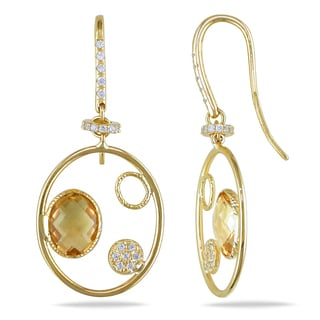 Miadora 14k Yellow Gold Citrine and Created White Sapphire Earrings
