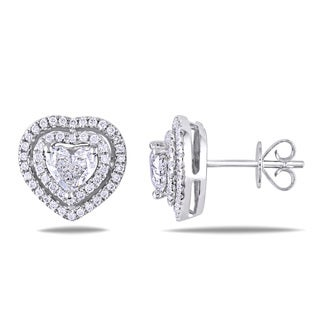 Miadora 14k White Gold 1 1/3ct TDW Diamond Heart Earrings (G-H, I1-I2)