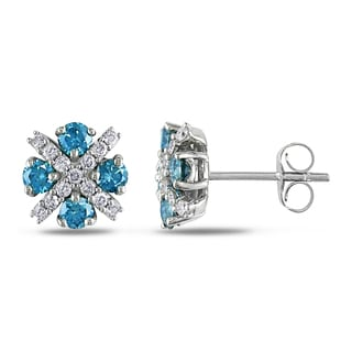 Miadora 14k White Gold 1ct TDW Blue and White Diamond Earrings (G-H, I1-I2)