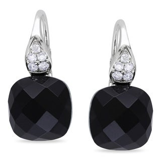 Miadora 14k White Gold Black Onyx and 1/5ct TDW Diamond Earrings (G-H, SI1-SI2)