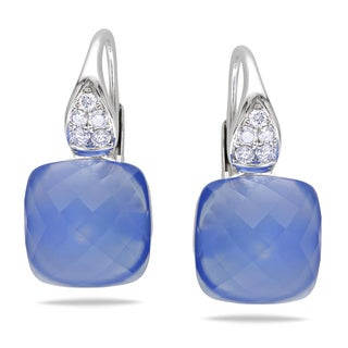 Miadora 14k White Gold Blue Chalcedony 1/5ct TDW Diamond Earrings (G-H, SI1-SI2)