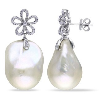 Miadora 14k White Gold White Pearl and 1/3ct TDW Diamond Earrings (G-H, SI1-SI2) (14.5-15 mm)