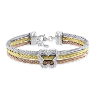 Miadora Stainless Steel and Silver Diamond-accent Cable Bracelet