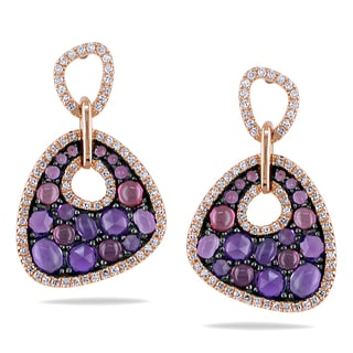 Miadora 14k Rose Gold Amethyst, Rhodolite and 2/5ct TDW Diamond Earrings (G-H, I1-I2)
