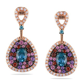 Miadora 14k Rose Gold Multi-gemstone 1/5ct TDW Diamond Earrings (G-H, I1-I2)
