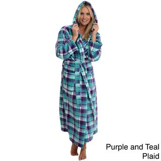 Del Rossa Women's Full Length Hooded Fleece Robe