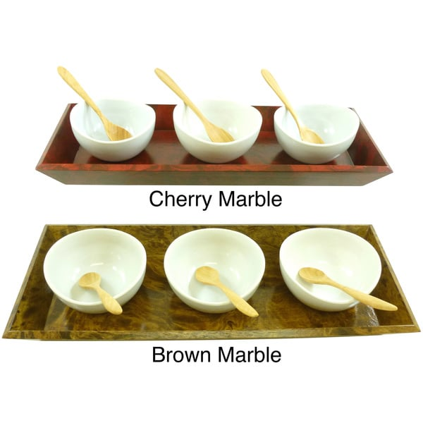 Mango Wood Condiment Bowls and Spoons Set (Thailand)
