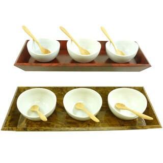 Mango Wood Condiment Bowls and Spoons Set (Thailand)