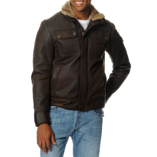 Excelled Men's Aviator Faux Shearling Jacket