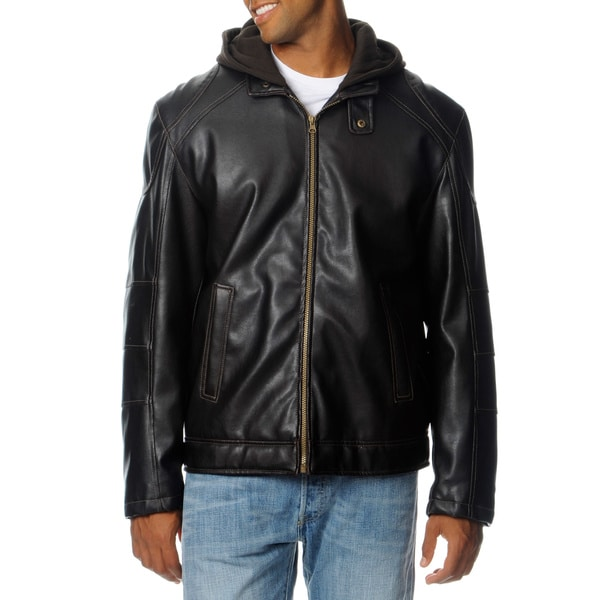 R&O Men's Sherpa Lined with Hood Faux Leather Jacket