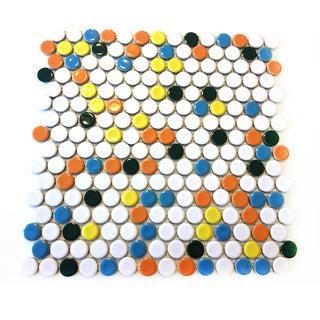 ModDotz 'Juno' Porcelain Penny Round Tile (Set of 17 Mesh Sheets)