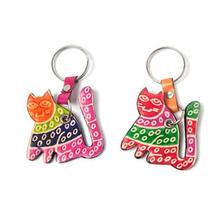 Set of Two Cruelty-free Shanti Leather Cat Keychains (India)