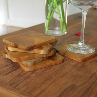 Reclaimed Teak Rustic Square Coaster Set (Set of 6) (Indonesia)