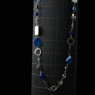 Blue and Silver Beaded Chain Necklace (China)