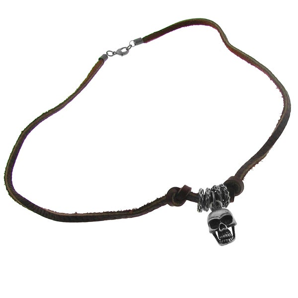 Silvertone Skull and Brown Leather Cord Necklace