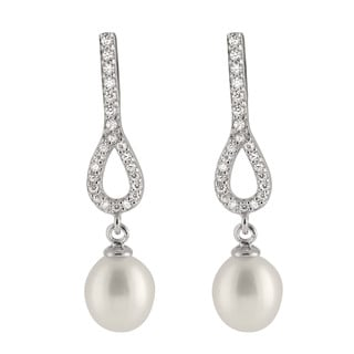 Sterling Silver White Drop Freshwater Dangle Pearl Earrings with Cubic Zirconia (7-8 mm)