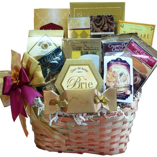 Golden Splendor Gourmet Food/ Snacks Gift Basket Fine Cheese, Oils, Balsamic -