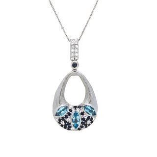 Beverly Hills Charm Sterling Silver Topaz and Sapphire Necklace