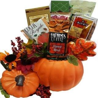 Fall Harvest Ceramic Pumpkin Gourmet Food Gift Basket
