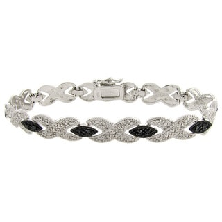 Pretty Plus Silver Overlay Black Diamond Accent 'XOXO' Bracelet