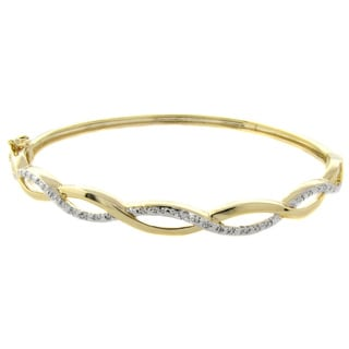 Pretty Plus Gold Overlay Diamond Accent 8-inch Infinity Bangle