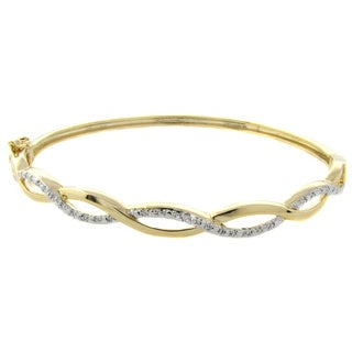 Pretty Plus 14k Gold Overlay Diamond Accent 8-inch Infinity Bangle