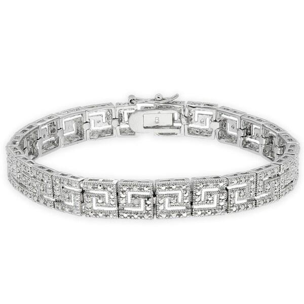 Finesque Silverplated Diamond Accent Greek Key Bracelet