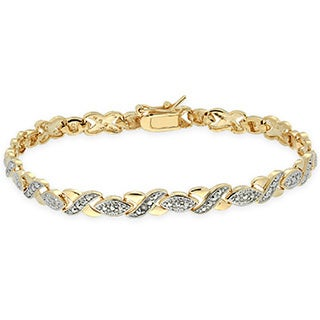 Finesque Overlay Diamond Accent 'XOXO' Bracelet