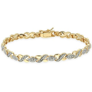 Finesque Gold Overlay Diamond Accent 'XOXO' Bracelet