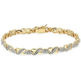Pretty Plus Gold Overlay Diamond Accent XOXO Bracelet