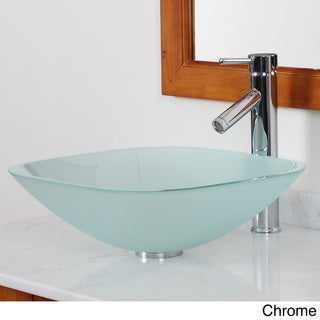 Elite Frosted Square Tempered Glass bathroom Sink With Faucet Combo