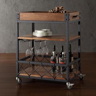 TRIBECCA HOME Myra Rustic Mobile Kitchen Bar Serving Wine Cart