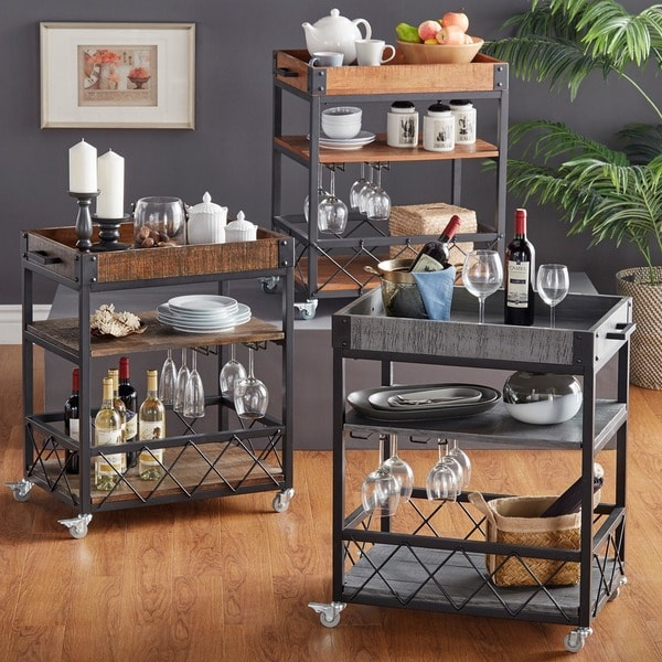 Q Bar And Kitchen: INSPIRE Q Myra Rustic Mobile Kitchen Bar Serving Wine Cart