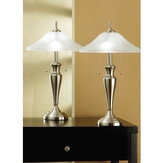 Artiva USA 2-piece Classic Brushed Steel Table Lamp with Heavy-duty Base and Hammer Glass Shade