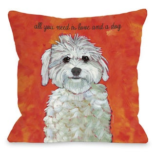 Love & A Dog Throw Pillow