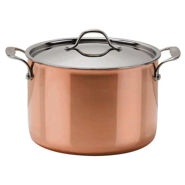 Strauss Le Cuivre Try-ply Stainless Steel Copper Finish Stockpot with Glass Lid