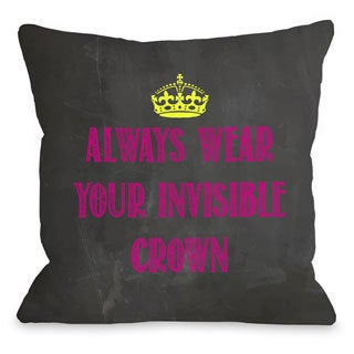 Invisible Crown Chalkboard - Pink/Yellow Throw Pillow