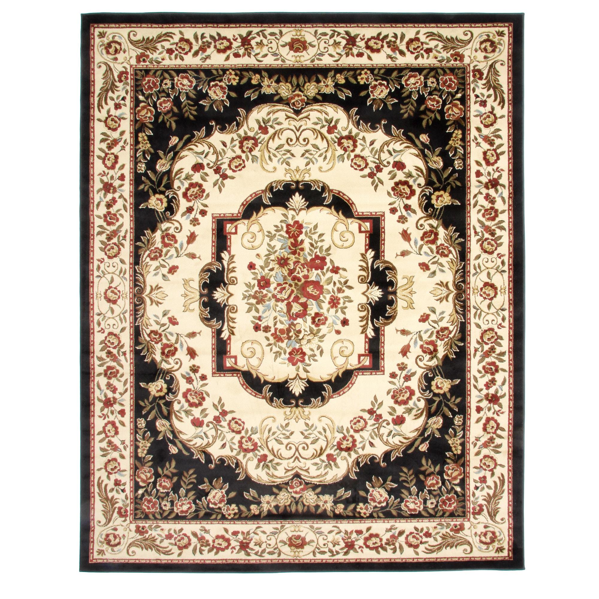 Overstock.com Traditional Ancient Empire Black Area Rug (7'10 x 9'10) at Sears.com