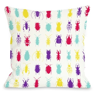 Neon 'All Over Insects' Throw Pillow