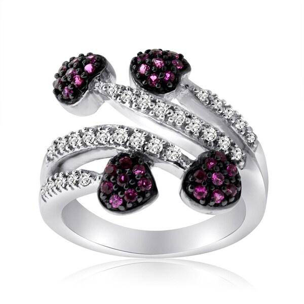 10k White Gold Ruby and 1/5ct TDW Diamond Heart Ring (H-I, I1-I2)