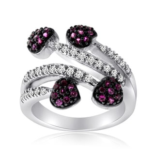 10k White Gold Ruby and 1/5ct TDW Diamond Heart Ring (H-I, I1-I2)